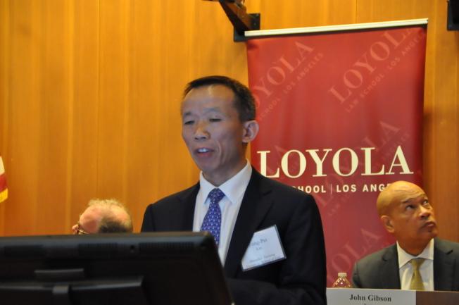 上海交通大學法學院主任劉永沛在峰會上發表演講。(記者王若然/攝影)