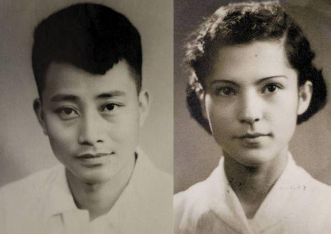 年輕時的袁迪寶和李丹妮。(取材自杭州日報)