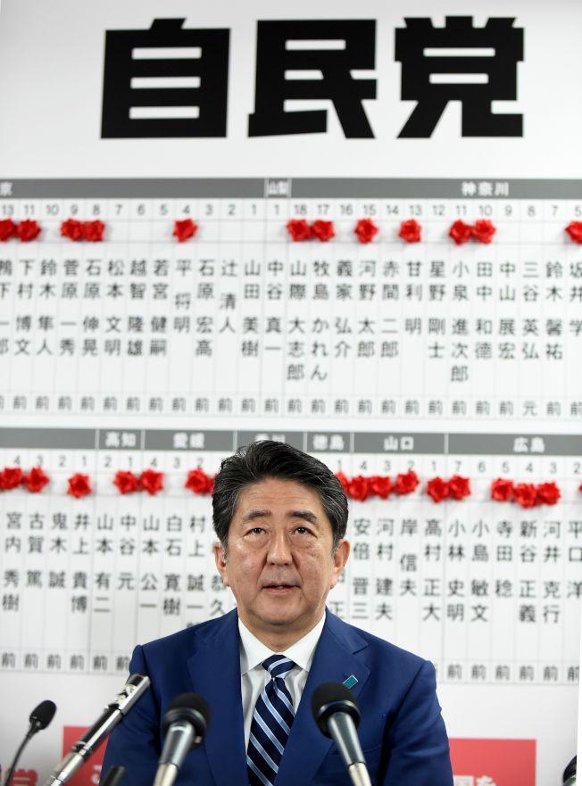 日本首相安倍晉三22日在東京自民黨總部確定贏得大選。(Getty Images)