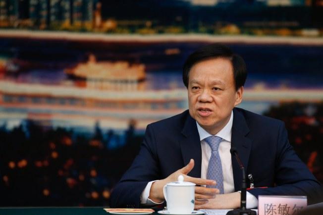 剛接重慶市委書記的陳敏爾是明日之星。(歐新社)