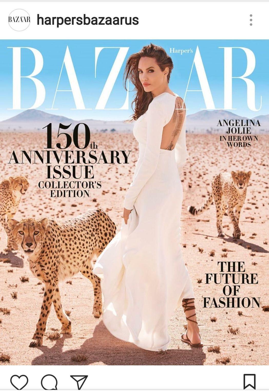 安琪琳娜裘莉在納米比亞拍攝的雜誌封面,充滿獨特美感。(圖擷自Harper's Bazaar US Instagram)
