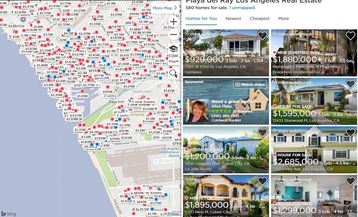 洛杉磯的房價居高不下。圖/取自zillow網站