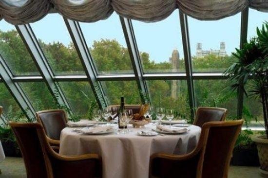 大都會藝術博物館的會員餐廳,俯瞰中央公園和古埃及方尖碑Cleopatra's Needle的玻璃牆,提供所有紐約餐廳中最優美的景觀之一。(大都會博物館)