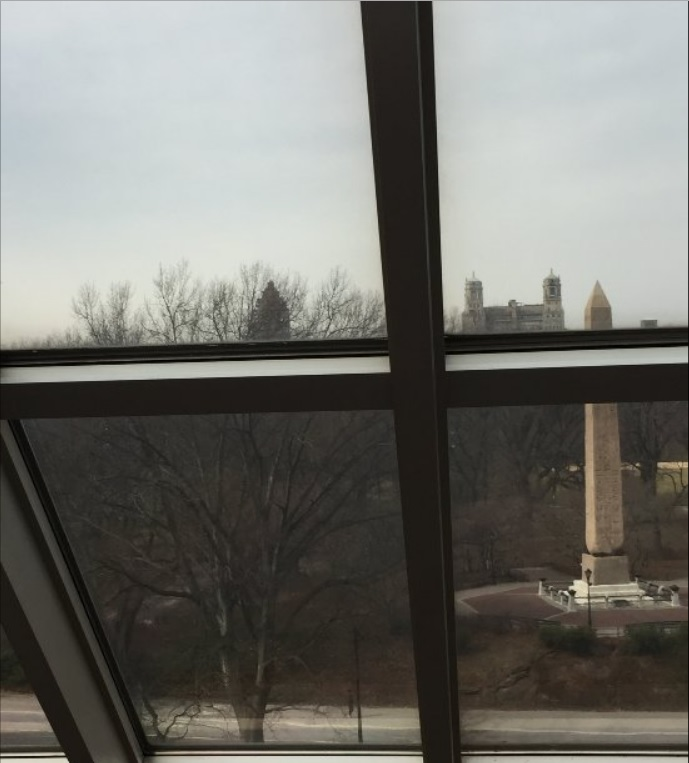 從大都會博物館餐廳,可以俯看中央公園的古埃及石碑。(大都會博物館)