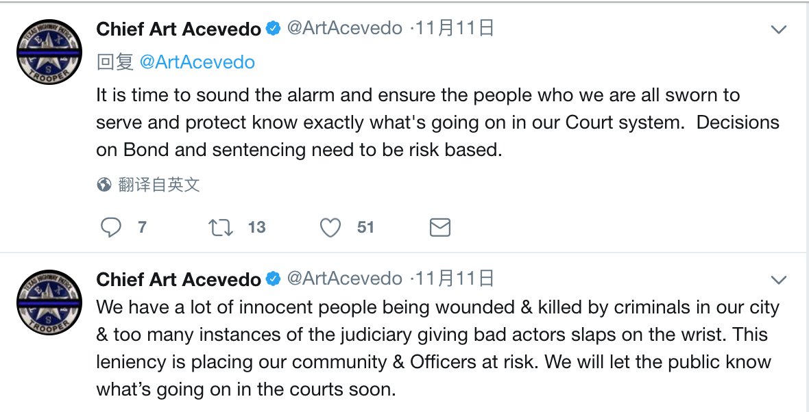 休士頓警局局長阿塞維多連續PO文,疑似炮轟法院對部分重罪犯處罰太輕。(取材自阿塞維多推特)