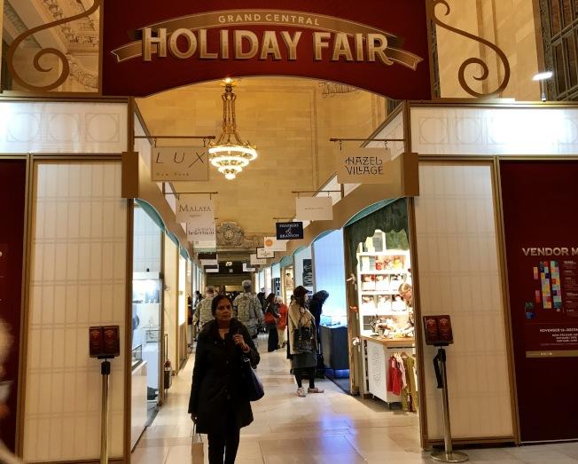 大中央車站假日商展開幕,節日氣氛濃。(記者俞姝含/攝影)