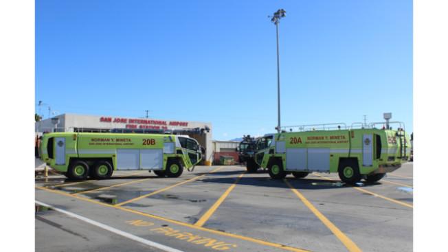 聖荷西國際機場全新的飛機消防車。(聖荷西國際機場提供)