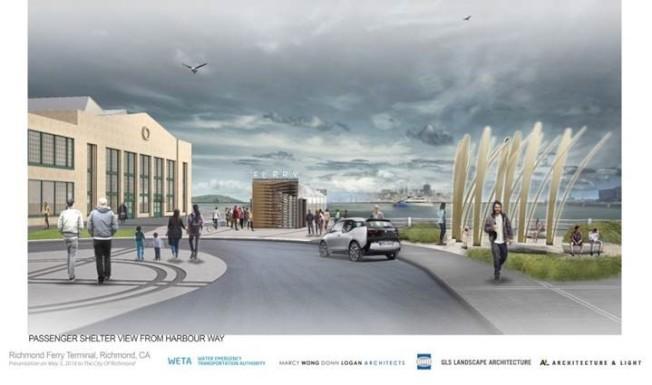 列治文Craneway Pavilion大樓附近將建起一座客運碼頭。若一切順利,碼頭在明年9月完工,屆時市民可以繞開日益擁堵的80號公路,改坐輪船花30分鐘,往返於列治文和舊金山之間。(記者劉先進/翻攝,列治文供圖)