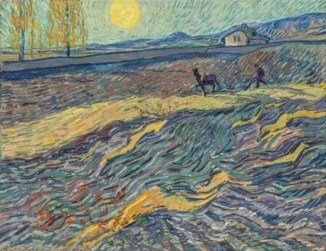 梵谷畫作「有圍欄的麥田和犁田的人」。取自佳士得官網