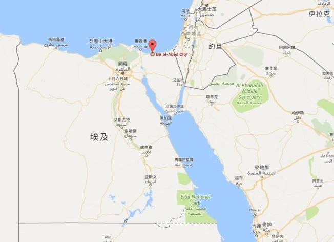 武裝攻擊者24日在北西奈省襲擊一座清真寺,多人死傷。(圖取自Google地圖www.google.com.tw/maps)