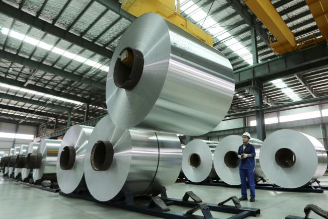 China Party Congress Economy安徽一家鋁工廠。(美聯社)