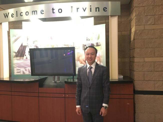 華裔曹碩的公司將在爾灣市建造一個地標性辦公樓和酒店。(記者王全秀子/攝影)