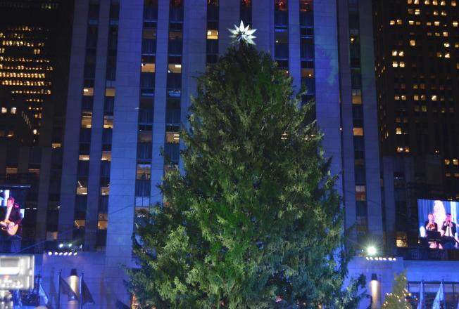 第85屆洛克菲勒中心聖誕樹點燈儀式於29日如期舉行,9時鐘聲響起時,聖誕樹綻放出燦爛的光芒,等待數個小時的民眾歡笑著慶祝聖誕季的到來。(記者俞姝含/攝影)