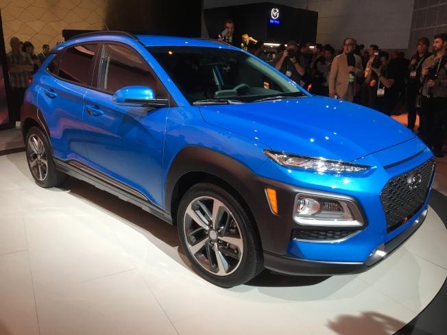 29日最後發表的是以「 Young (年輕)」為概念的小型SUV Hyundai Kona。(記者謝雨珊/攝影)