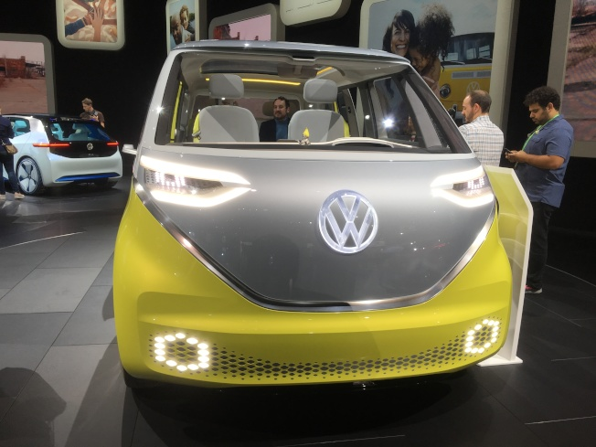 Volkswagen ID Buzz概念車內裝及外表都創意十足。(記者謝雨珊/攝影)