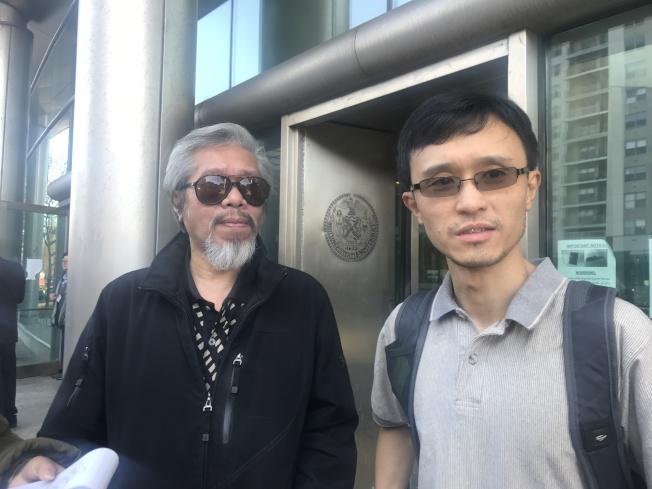 陳家齡(左)與謝偉康(右)認為判決不公。(記者牟蘭/攝影)