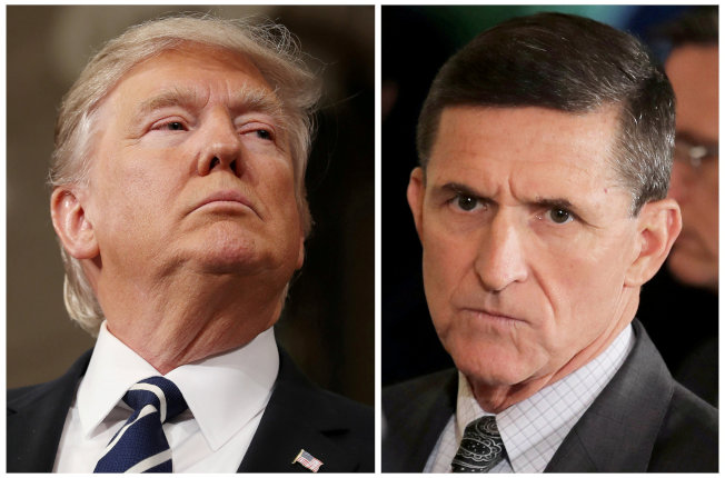 白宮前國安顧問佛林(右)就被控通俄案認罪,使川普總統的危機進一步升高。(路透)