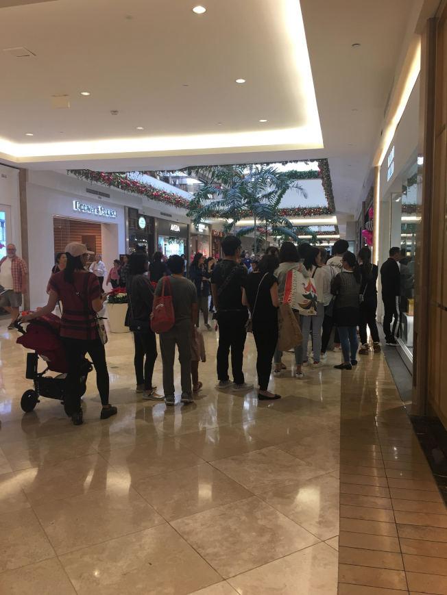 今年消費者的購買力增強,不少店家門口排起長龍。(記者王全秀子/攝影)