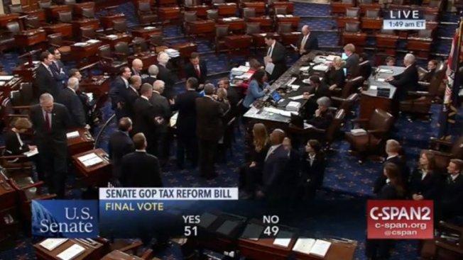 稅改法案參院投票直到凌晨近2時才以51:49,兩票之差通過。(翻攝C-SPAN)