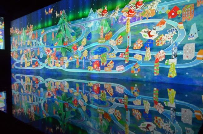 彩繪聖誕可以體驗將畫作投影到牆上的樂趣。記者魏妤庭/攝影