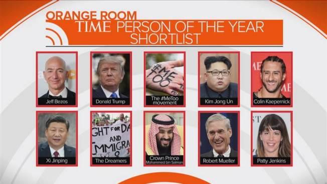 「時代」雜誌「2017年風雲人物」進入最後決選階段,共有十位名人入選:上圖左一起:亞馬遜創辦人貝佐斯、川普總統、女權反性騷性侵的推文運動「MeToo」、北韓領袖金正恩、下跪抗議風波發起人卡普尼克;下左一起:中國國家主席習近平、爭取留在美國的「夢想生」、清除政敵的沙國王儲薩爾曼、「通俄門」特別檢察官穆勒、創女導演票房賣座紀錄的「無敵女超人」堅金斯。(取自時代網站)