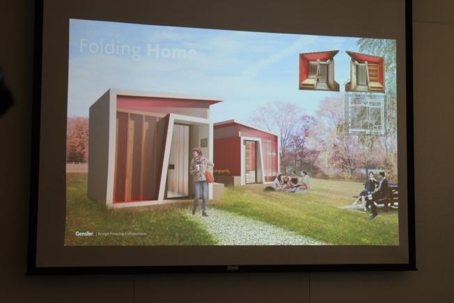 小房屋設計概念圖之一Folding Homes。(記者張毓思/攝影)