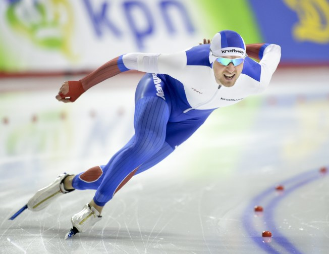俄羅斯速滑選手葉斯柯夫贏得世錦賽男子1500米競速冠軍。(歐新社)