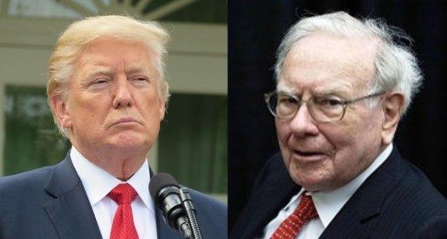 總統川普(左)、「股神」巴菲特(右)。 美聯社、路透
