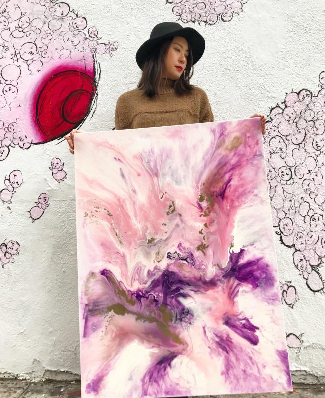 華裔藝術家董璐璐的個人繪畫展「花非花」將在曼哈頓下東城舉行。(董璐璐提供)