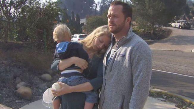 準備迎接第二個寶寶的Christie和Mark Evans夫婦,面對剛以87萬1000元買下的南加州新家5日被大火夷為平地,難以置信,情緒幾近崩潰。(網路照片)