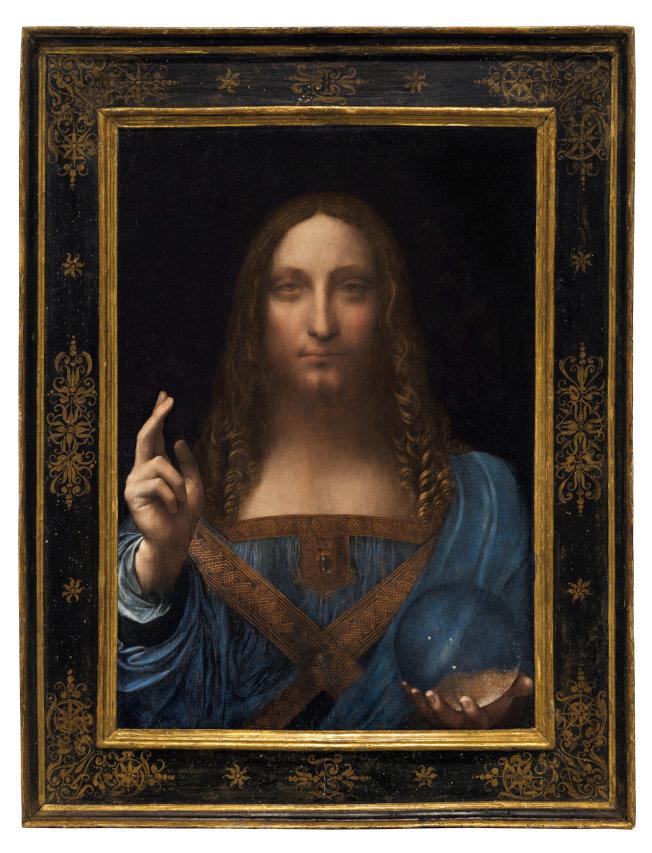 達文西名畫「救世主」在紐約拍賣之前,曾向媒體公開展示。(路透)
