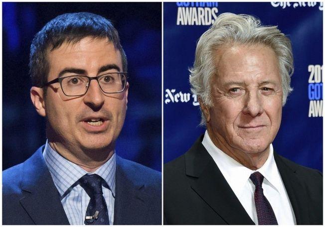 約翰奧立佛(左)不滿達斯汀霍夫曼(右)對性騷指控的回應。(美聯社)