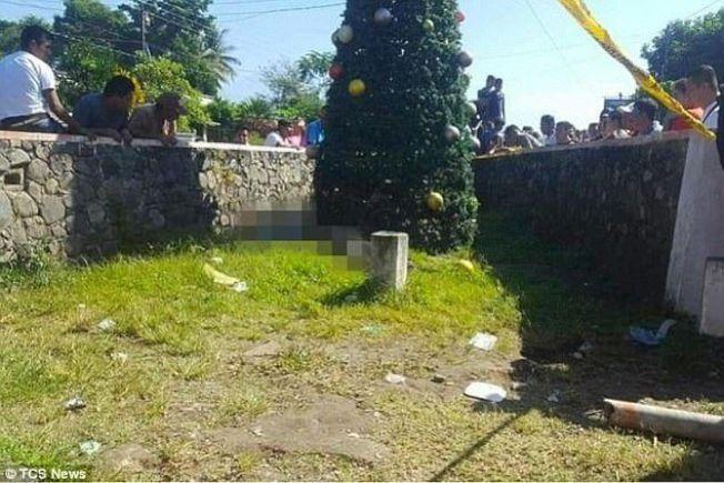 瓜地馬拉5位年輕人在裝飾聖誕樹途中,不慎讓金屬樹碰到電纜線,5人觸電身亡。圖截自每日郵報