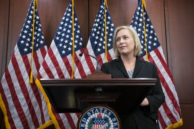 紐約州聯邦參議員陸天娜指控川普總統涉及性騷多名婦女,要求他辭職下台,引來川普的強烈反擊。(歐新社)