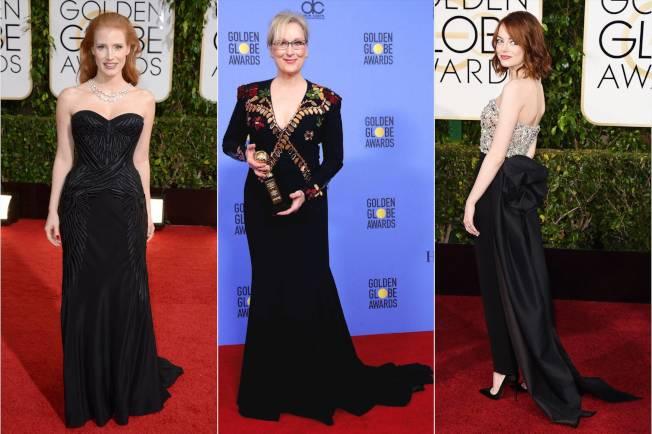 梅莉史翠普等多位將出席金球獎的女星這次都選擇了黑色禮服。(美聯社)