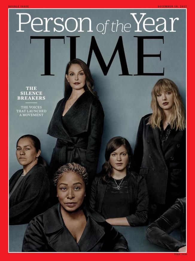 曾在2017年公開揭發性侵行為的女性穿黑衣登上「時代」周刊年度人物評選封面,掀起黑色風暴。(取材自時代周刊)