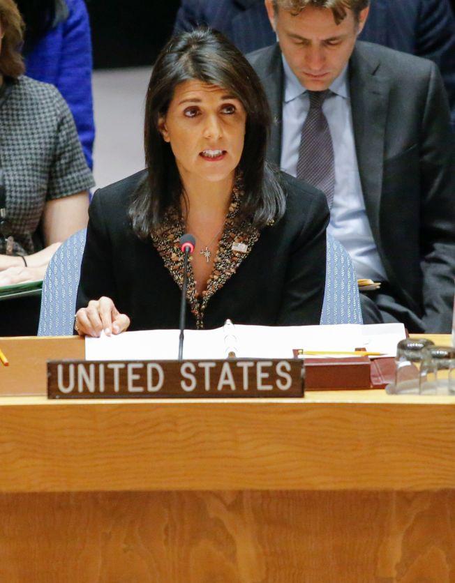 美國駐聯合國大使海理18日在聯合國安理會表決會議上,對「拒絕美國總統川普認可耶路撒冷為以色列首都」議案投了反對票。(Getty Images)