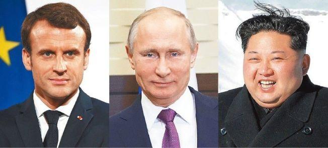 聲望看漲組:馬克宏(左起)、普亭、金正恩。 (美聯社、路透)