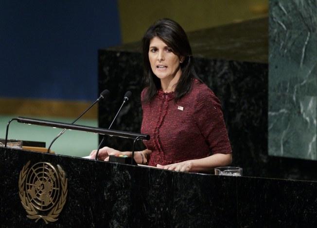 美國駐聯合國大使海理25日表示要刪減美國對聯合國的預算,以展示美國強硬立場。(歐新社)