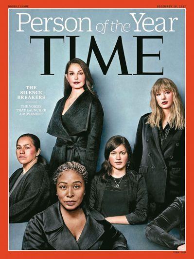 最新一期時代雜誌封面介紹年度風雲人物是「打破沉默的性侵受害者群」。 法新社