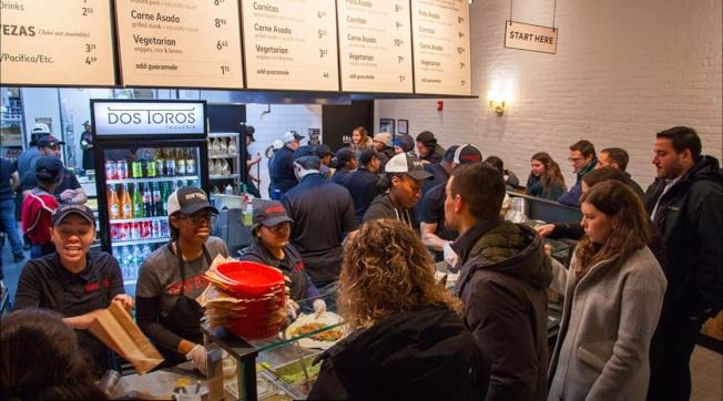 属中小企业的美国Dos Toros墨西哥卷饼快餐店最近全面弃用现金。 (翻摄自Dos Toros连锁餐厅官网)