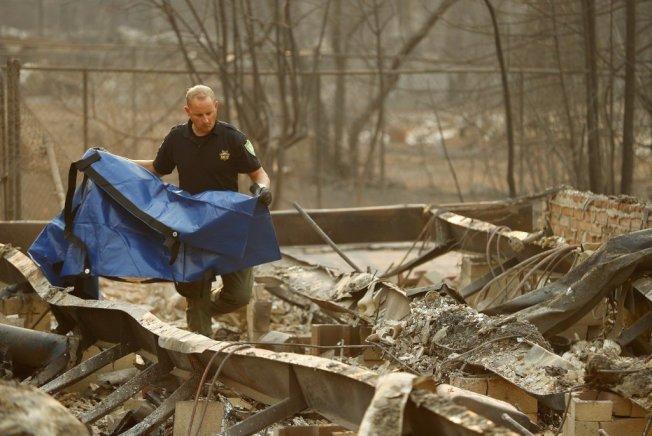 北加州地区8日爆发「坎普野火」以来,已烧毁天堂镇6700多栋民宅和店家。 。美联社