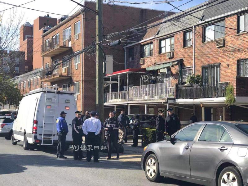 法拉盛14日凌晨发生凶杀案,一对华裔男女在家中遇害,警方在现场调查。 (记者朱蕾/摄影)