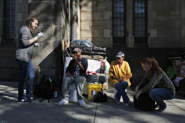 数据显示,全国有超过十分之一的游民聚集在纽约市。 (本报档案照)