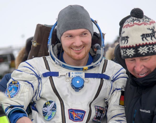 国际太空站成员、欧洲太空总署的德国太空人Alexander Gerst 20日顺利返回地球。 (Getty Images)