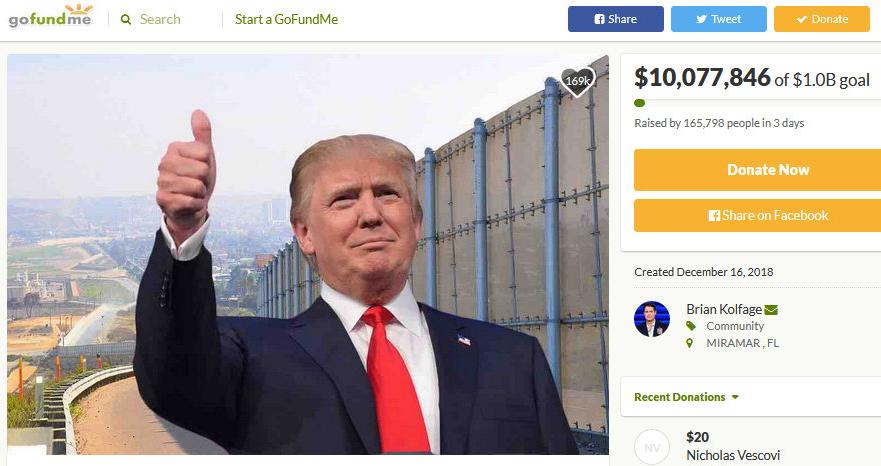 川普粉丝为他募款筑墙,三天即筹得逾千万美元。 (取自gofundme)