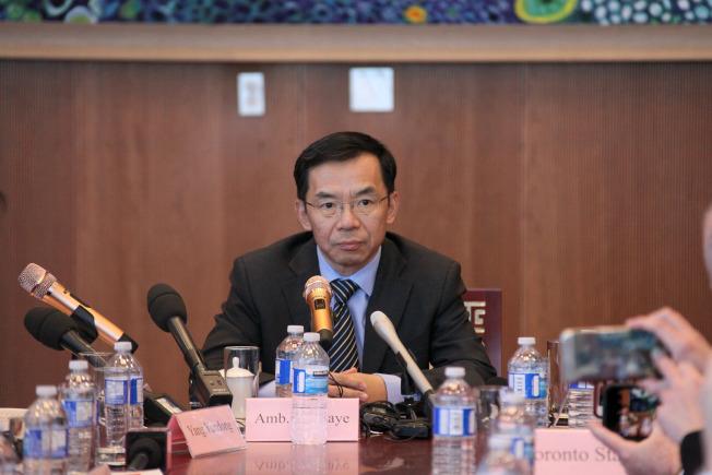 中国驻加拿大大使卢沙野于当地时间17日在渥太华接受媒体访问时表示,孟晚舟事件发生后,很多中国人的感觉像是被朋友背后捅刀。 (中新社)