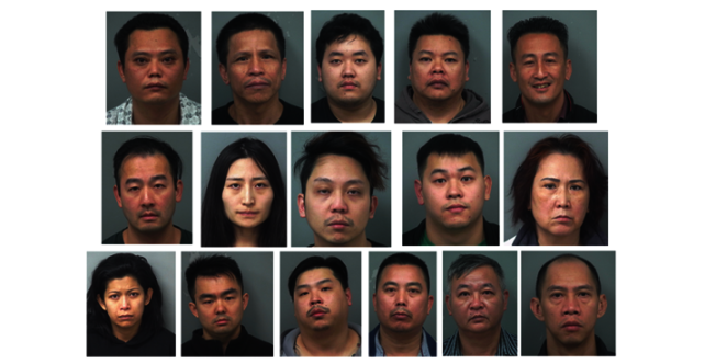 亚特兰大警方在三个郡对种植大麻的五栋房屋进行突检,逮捕华裔和越南裔的涉毒人员16人,查封种植大麻3174株,市场价估计为3500万元。 (格温内特郡警局照片)