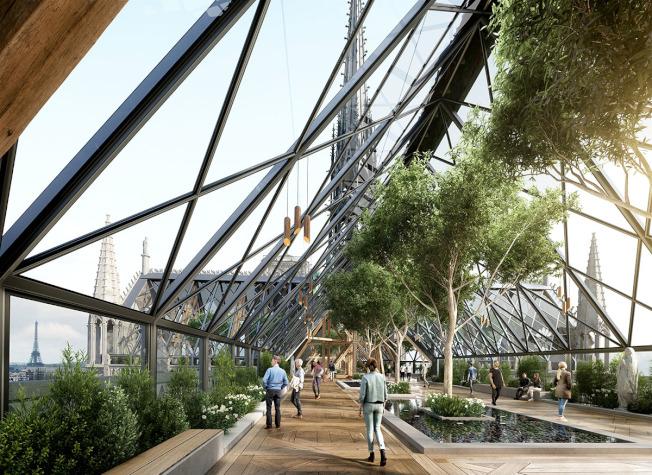 重建圣母院设计图,出现在屋顶打造成温室,里面种树,并可散步。 (取材自Miysis网站)