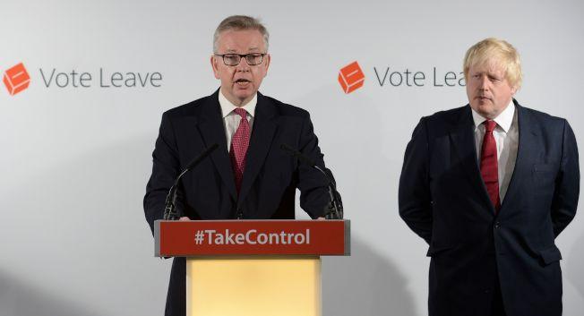 现任环保大臣戈夫(左)26日也宣布角逐保守党魁,挑战外相强生(右)。 (Getty Images)